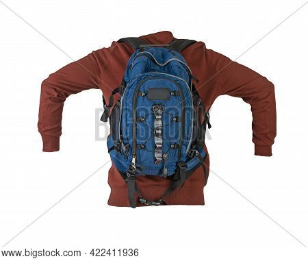 Blue  Backpack Dressed In A Knitted Red Sweater Isolated On A White Background. Backpack And Male Sw
