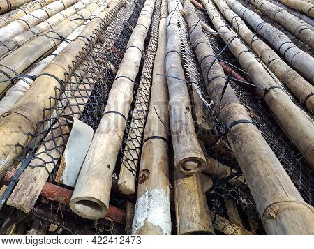 Close Up Of Bamboo Trunks, Nets And Fishing Tackle. Traditional Antillean Fishing. Caribbean And Tro