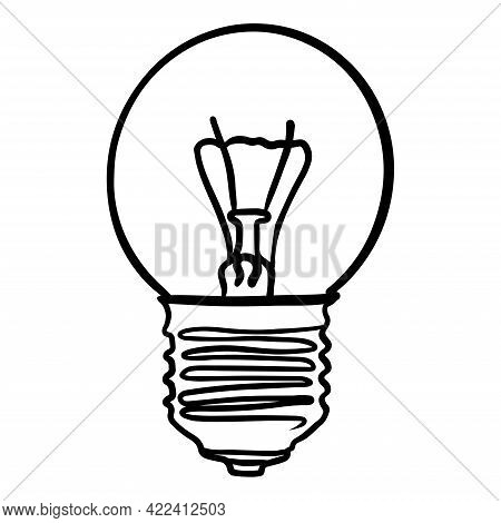Vector Illustration Round Incandescent Light Bulb Led Lamp Black Outline. Isolated.