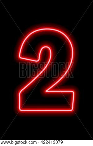 Neon Red Number 2 On Black Background. Learning Numbers, Serial Number, Price, Place.