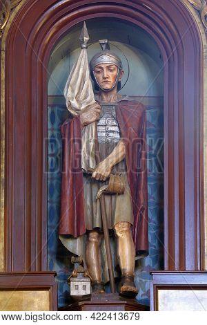 JASTREBARSKO, CROATIA - JULY 22, 2013: Saint Florian statue on the altar at Saint Nicholas Parish Church in Jastrebarsko, Croatia