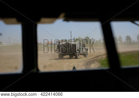 Smardan, Romania - May 11, 2021: Romanian Army Uro Vamtac Armored Vehicle Seen From Another Armored