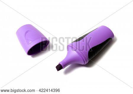 Purple highlighter pen isolated on white