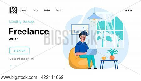 Freelance Work Web Concept. Man Working On Laptop From Home Office, Freelancer Or Remote Worker. Tem