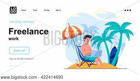 Freelance Work Web Concept. Man Working On Laptop From Sea Resort, Freelancer Relaxing At Beach. Tem
