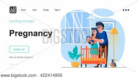 Pregnancy Web Concept. Young Family With Newborn Baby In Kid Bedroom, Motherhood And Parenthood. Tem