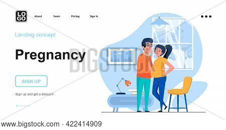 Pregnancy Web Concept. Young Family Expecting Birth Of Child, Family, Motherhood And Pregnancy. Temp