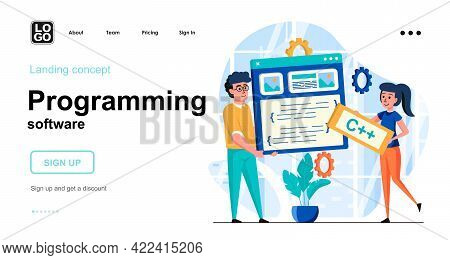 Programming Software Web Concept. Team Programmers Creates Software, Programs, Working Together. Tem