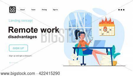 Remote Work Disadvantages Web Concept. Woman Procrastinates In Smartphone And Fails Work Deadline. T