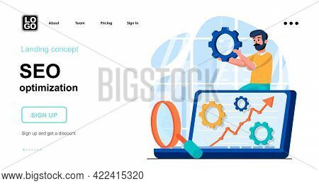 Seo Optimization Web Concept. Man Making Search Settings, Increase Website Traffic, Page Promotion.