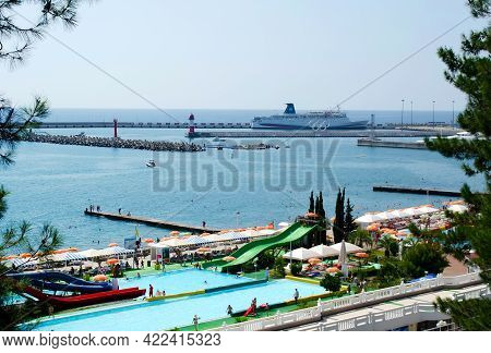 Sochi, Russia, July 27, 2019: Yachts In Port Of Sochi Summer Time