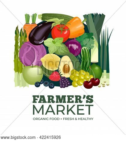 Farmer's Market Banner Template With Vegetables And Fruits. Design Concept For Veggie Shop Poster, S