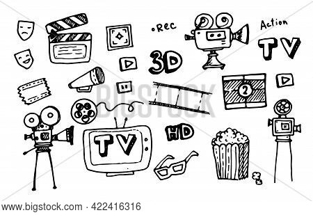 Cinema Vector Icon Set.vector Set Of Vintage Movies. Doodle-style Isolated Elements Of Cinema And Tv