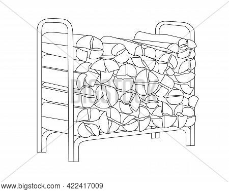 Woodpile With Firewood Vector Linear Illustration For Coloring. Outline. A Firewood Stand Filled Wit