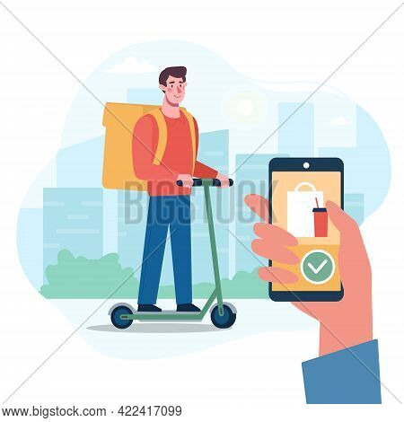 The Courier From The Delivery Service Is Carrying The Parcel. Application For Express Food Delivery.