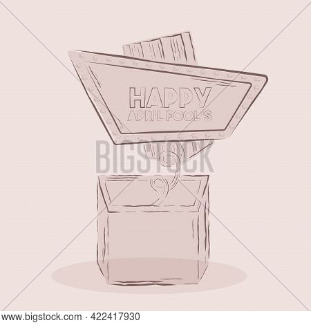 Isolated Box Harlequin Draw April Fools Humor Icon- Vector
