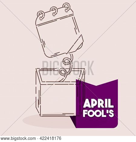 Isolated Box Calendar Draw April Fools Humor Icon- Vector