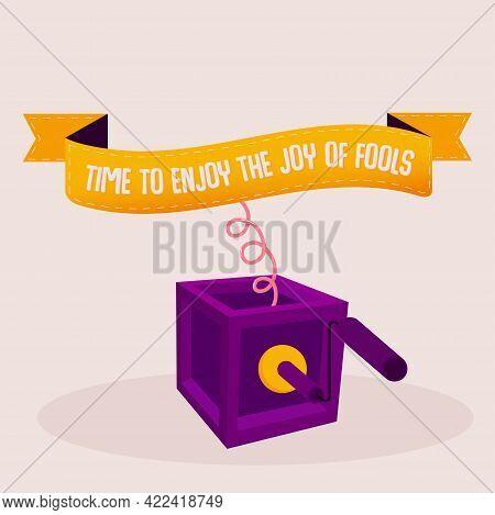 Isolated Box Purple April Fools Humor Festival Vector Illustration