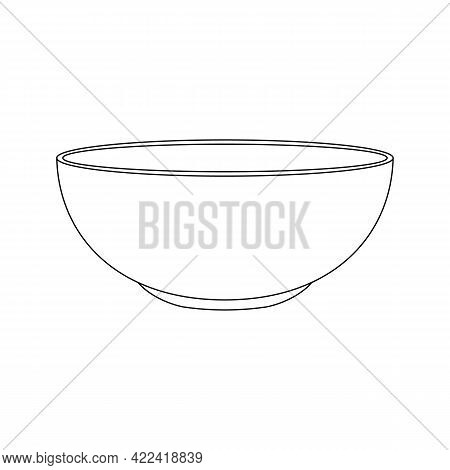 Empty Bowl Icon In Linear Style. Food Dish For Soup Or Salad Isolated On White Background. Editable