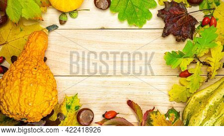 Autumn Composition. Natural Harvest With Orange Pumpkin, Fall Dried Leaves, Red Berries And Acorns,