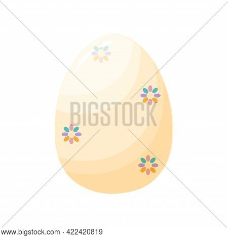 Isolated White Easter Egg Symbol Holiday Vector Illustration