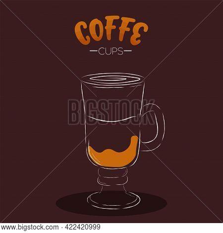Dark Cup Glass Coffee Drink Color Vector Illustration