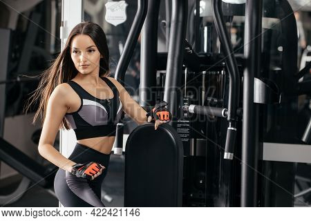 Side View Of A Beautiful Fit Girl. Energy Fitness-motivation, Training, Sports, Lifestyle Concept. C