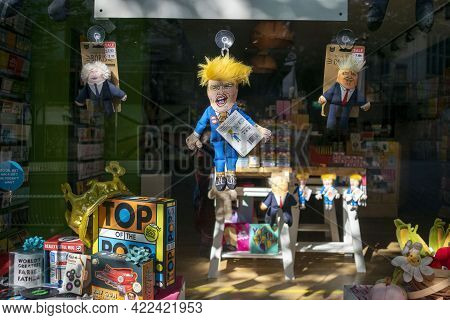 Nottingham, Nottinghamshire, England- June 1, 2021. Scribbler Shop Window Display With Donald Trump