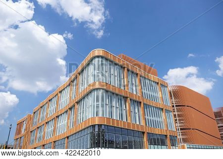 Nottingham, Nottinghamshire, England- June 1, 2021. New Building Exterior View On A Sunny Day. Const
