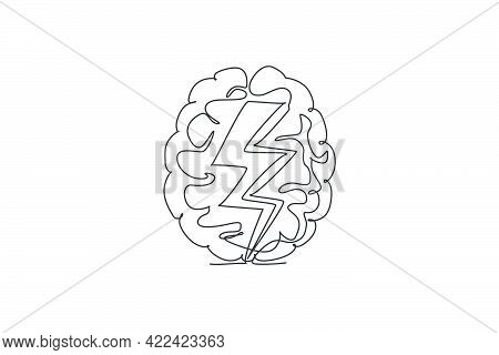 One Continuous Line Drawing Of Thunderbolt Strike Inside Human Brain Logo Icon. Fast Process Of Thin