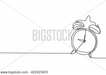 Single Continuous Line Drawing Of Ringing Alarm Clock To Wake Children Up. Back To School Minimalist