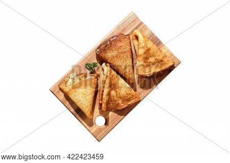Thin Pancakes From Russian Cuisine. Russian Blini, Crepes Isolated On White Background. Shrovetide H