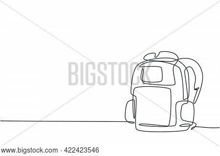 Single One Line Drawing Of Backpack For Kindergarten Student. Trendy School Bag. Back To School Mini