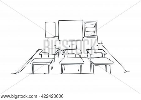 Continuous One Line Drawing Of Kindergarten School Classroom Interior. Back To School Hand Drawn Min