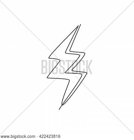 Single Continuous Line Drawing Of Thunder Light Bolt Logo Label. Energy Power Up Lightening Icon Lab