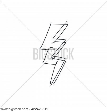One Continuous Line Drawing Of Thunder Bolt Light Logo Emblem. Power Up Electricity Logotype Icon Te