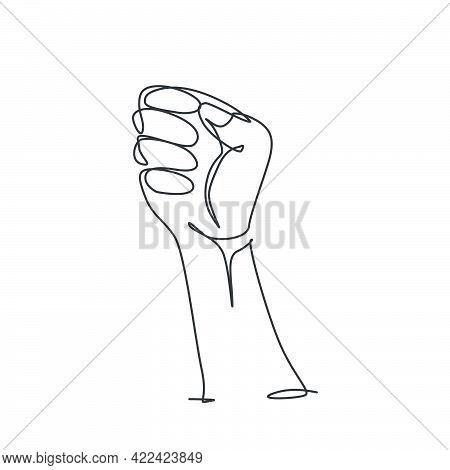 One Continuous Line Drawing Of Fist Human Hand Logo Emblem. Revolution Movement Logotype Icon Templa