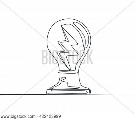 Single Continuous Line Drawing Of Shine Light Bulb With Thunder Bolt Inside Logo Label. Power Up Ele