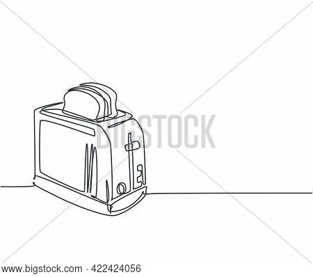 One Single Line Drawing Of Classic Bread Toaster Home Appliance. Electricity Kitchenware Tools Conce