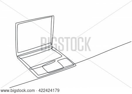 One Continuous Line Drawing Of Laptop Unit For Working At Home. Electricity Computer For Small Busin