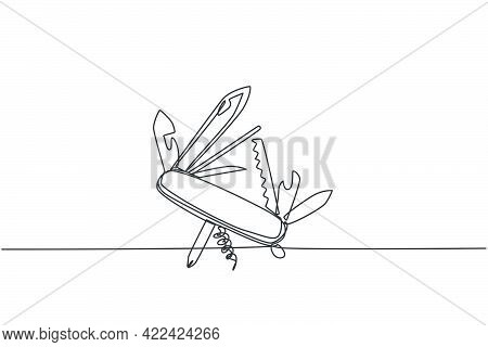 One Single Line Drawing Of Multi Purpose Pocket Knife With Blade, Scissor, Hover, Opener. Camping Ou