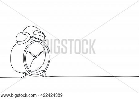 Single Continuous Line Drawing Of Classic Alarm Clock With Ring Bell. Wake Up Timer Tools Concept. M