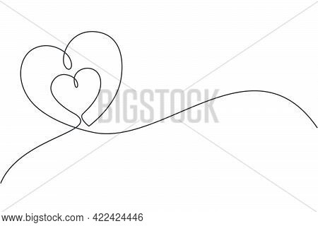 One Continuous Line Drawing Of Cute Love Heart Shaped For Lovable Greeting Card. Romantic Wedding In