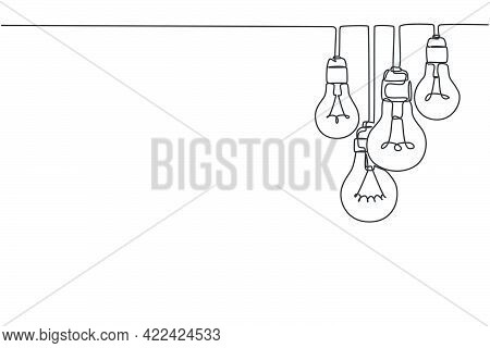 One Continuous Line Drawing Of Hanging Lightbulbs On House Ceiling Rooftop. Poster For Wall Decor In