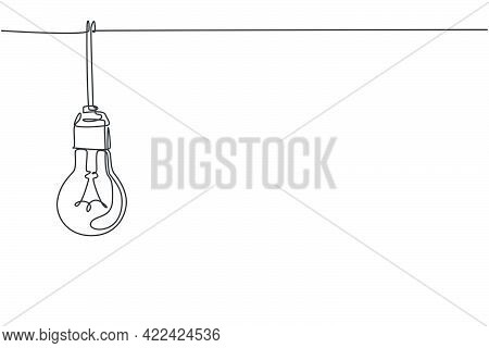 Single Continuous Line Drawing Of Light Bulb Hang On House Ceiling Rooftop. Power Up Creativity Logo
