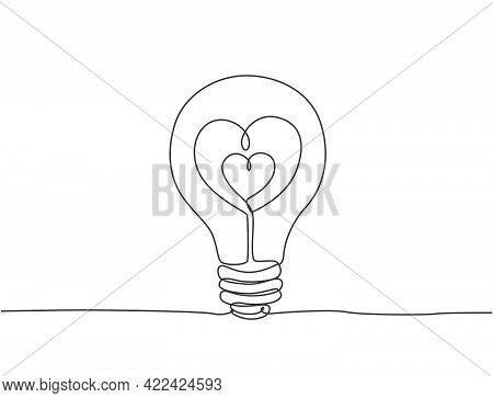 Single Continuous Line Drawing Of Lightbulb With Love Heart Shaped For Cupid Company Logo Label. Pow