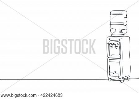 One Continuous Line Drawing Of  Electric Water Dispenser With Plastic Gallon Home Appliance. Electri
