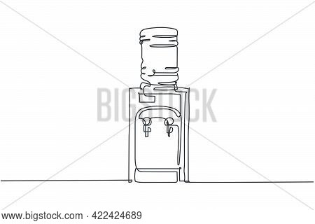 Single Continuous Line Drawing Of.water Dispenser With Plastic Gallon Household Utensil. Electronic