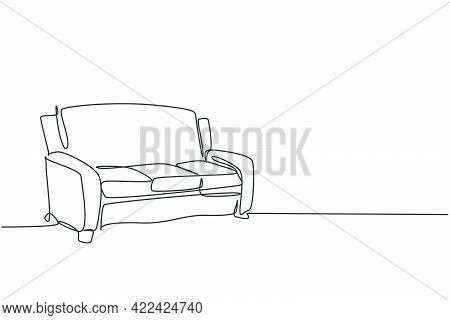 Single Continuous Line Drawing Of .luxury Comfortable Sofa Household Furniture. Living Room Couch Ho