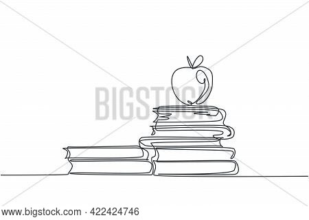 Continuous One Line Drawing Of Apple Above Books Stack Minimalist Vector Illustration Design On Whit